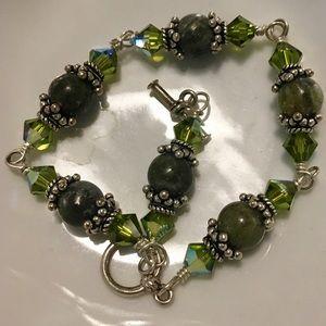 Green Beads & Crystals Sterling Bracelet